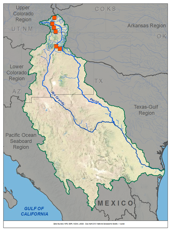 Rio Grande Basin TreeFlow - Map of the rio grande river