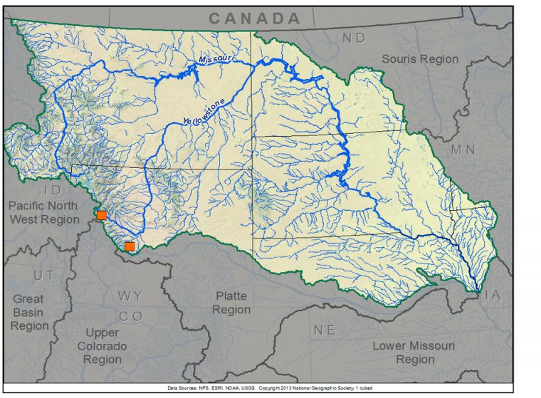 Upper Missouri Basin TreeFlow - Missouri river map